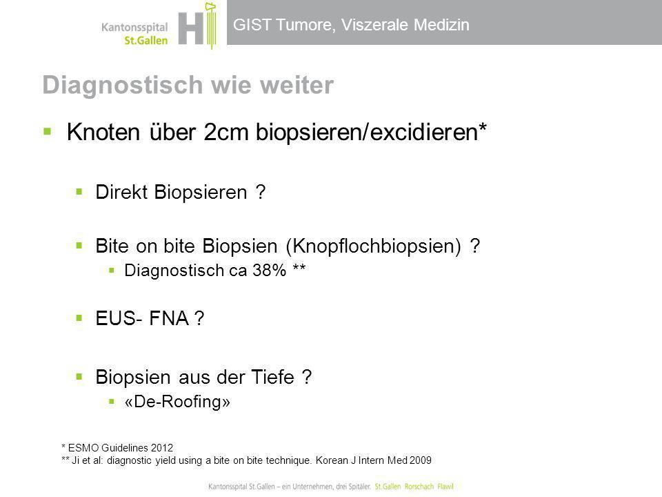 GIST Tumore, Viszerale Medizin Diagnostisch wie weiter Knoten über 2cm biopsieren/excidieren* Direkt Biopsieren ? Bite on bite Biopsien (Knopflochbiop
