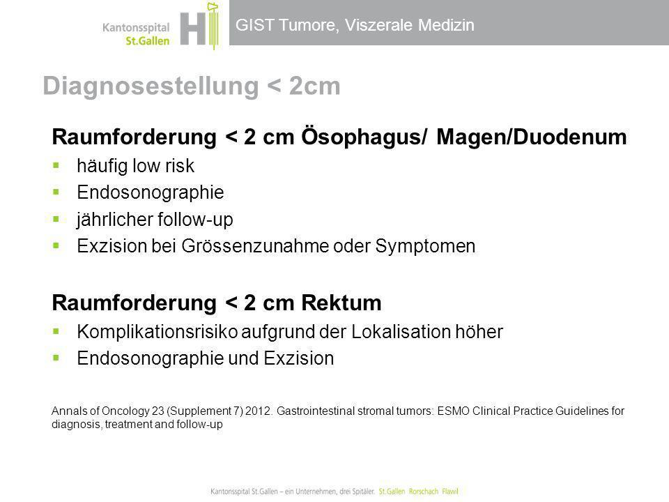 GIST Tumore, Viszerale Medizin Diagnosestellung < 2cm Raumforderung < 2 cm Ösophagus/ Magen/Duodenum häufig low risk Endosonographie jährlicher follow