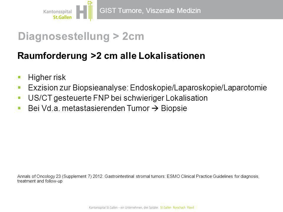 GIST Tumore, Viszerale Medizin Diagnosestellung > 2cm Raumforderung >2 cm alle Lokalisationen Higher risk Exzision zur Biopsieanalyse: Endoskopie/Lapa