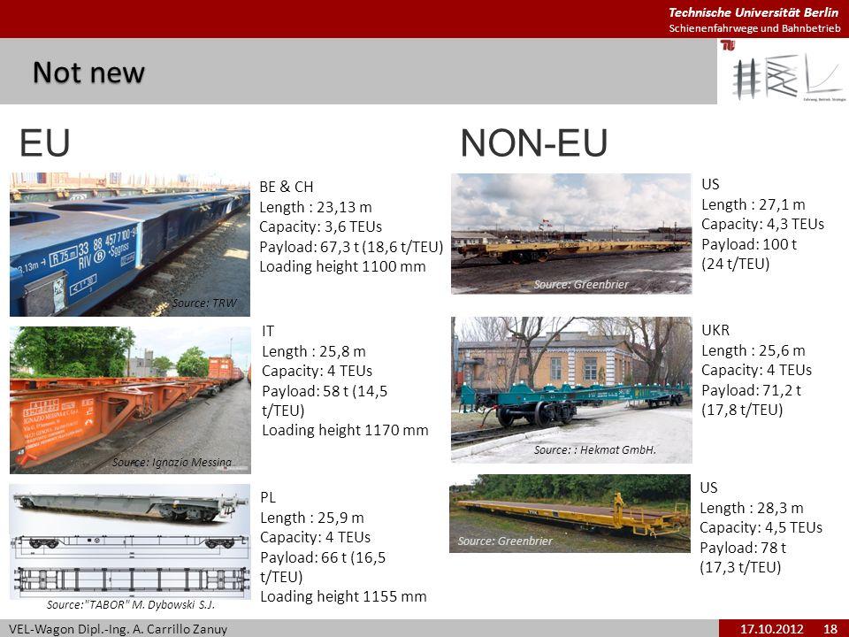 Technische Universität Berlin Schienenfahrwege und Bahnbetrieb Not new VEL-Wagon Dipl.-Ing. A. Carrillo Zanuy17.10.2012 18 IT Length : 25,8 m Capacity