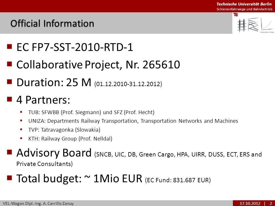 Technische Universität Berlin Schienenfahrwege und Bahnbetrieb EC FP7-SST-2010-RTD-1 Collaborative Project, Nr. 265610 Duration: 25 M (01.12.2010-31.1