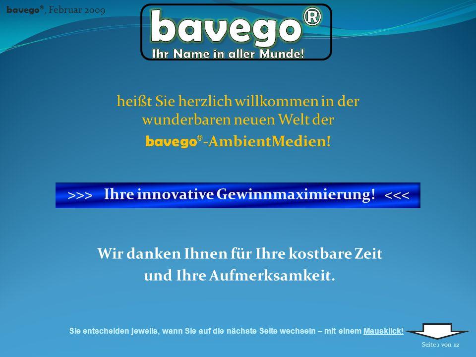 Wir danken Ihnen für Ihre kostbare Zeit und Ihre Aufmerksamkeit. bavego ®, Februar 2009 Sie entscheiden jeweils, wann Sie auf die nächste Seite wechse