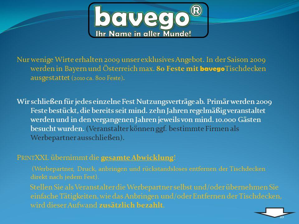 Nur wenige Wirte erhalten 2009 unser exklusives Angebot. In der Saison 2009 werden in Bayern und Österreich max. 80 Feste mit bavego Tischdecken ausge