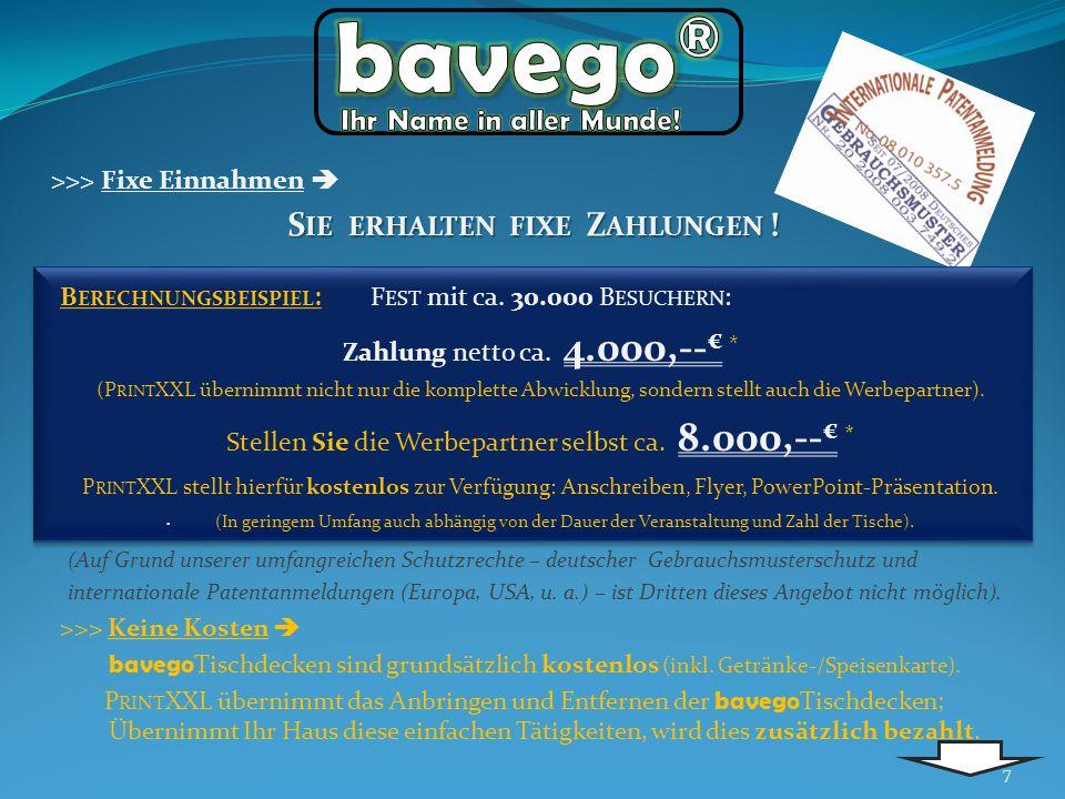 >>> Keine Kosten bavego Tischdecken sind grundsätzlich kostenlos (inkl. Getränke-/Speisenkarte). P RINT XXL übernimmt das Anbringen und Entfernen der
