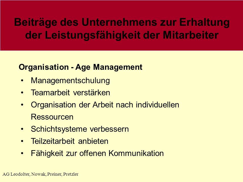 AG Leodolter, Nowak, Preiner, Pretzler Beiträge des Unternehmens zur Erhaltung der Leistungsfähigkeit der Mitarbeiter Organisation - Age Management Managementschulung Teamarbeit verstärken Organisation der Arbeit nach individuellen Ressourcen Schichtsysteme verbessern Teilzeitarbeit anbieten Fähigkeit zur offenen Kommunikation