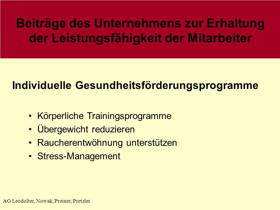 AG Leodolter, Nowak, Preiner, Pretzler Individuelle Gesundheitsförderungsprogramme Körperliche Trainingsprogramme Übergewicht reduzieren Raucherentwöhnung unterstützen Stress-Management Beiträge des Unternehmens zur Erhaltung der Leistungsfähigkeit der Mitarbeiter