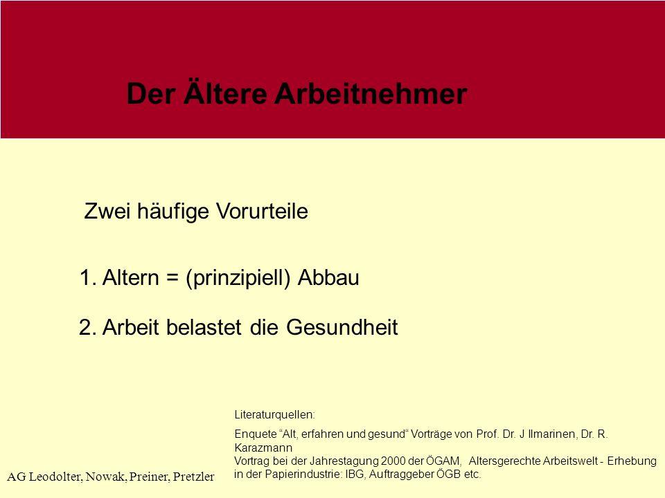 AG Leodolter, Nowak, Preiner, Pretzler Der Ältere Arbeitnehmer Zwei häufige Vorurteile 1. Altern = (prinzipiell) Abbau 2. Arbeit belastet die Gesundhe