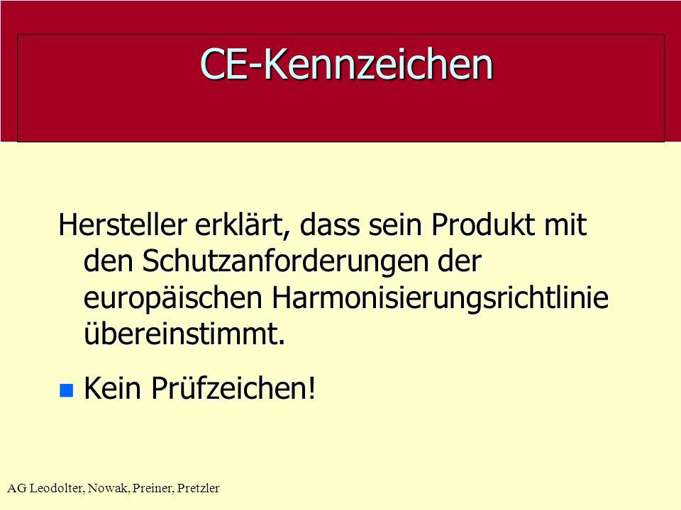 AG Leodolter, Nowak, Preiner, Pretzler CE-Kennzeichen CE-Kennzeichen GS- Geprüfte Sicherheit Steht für die Einhaltung der sicherheitstechnischen Anforderungen Elektrische Sicherheit (Berührung, Isolation, Brandschutz) Mechanische Sicherheit (Verletzungsgefahr an Gehäuse und Bedienteilen, Haltbarkeit, etc.) Hersteller erklärt, dass sein Produkt mit den Schutzanforderungen der europäischen Harmonisierungsrichtlinie übereinstimmt.