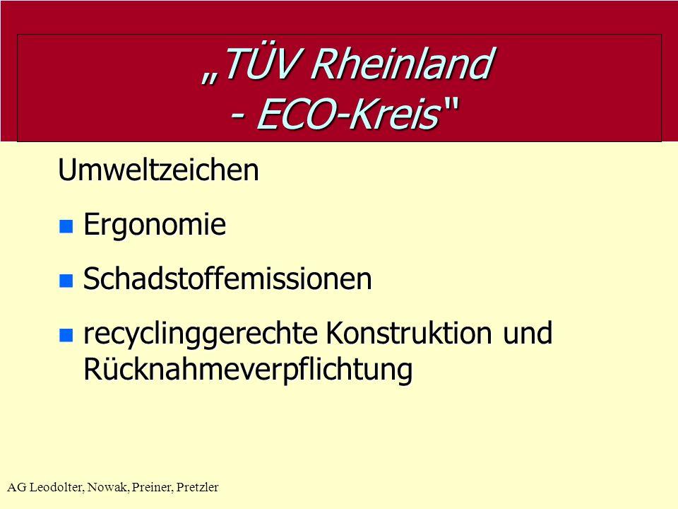 AG Leodolter, Nowak, Preiner, Pretzler TÜV Rheinland - ECO-Kreis TÜV Rheinland - ECO-Kreis GS- Geprüfte Sicherheit Steht für die Einhaltung der sicher