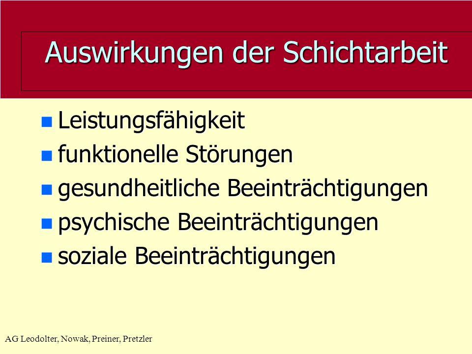 AG Leodolter, Nowak, Preiner, Pretzler Auswirkungen der Schichtarbeit n Leistungsfähigkeit n funktionelle Störungen n gesundheitliche Beeinträchtigungen n psychische Beeinträchtigungen n soziale Beeinträchtigungen