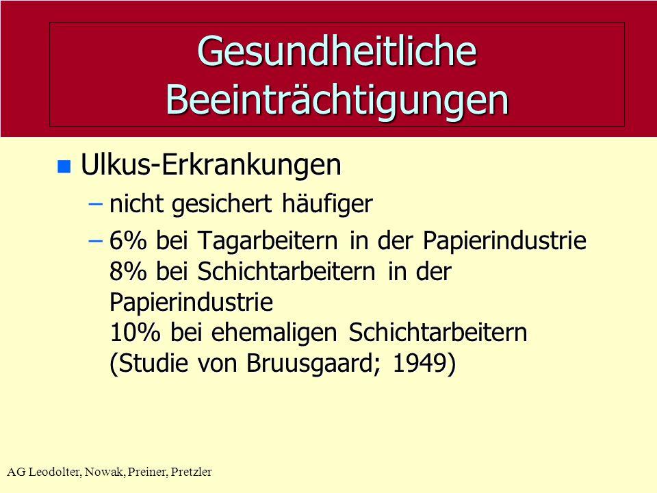 AG Leodolter, Nowak, Preiner, Pretzler Gesundheitliche Beeinträchtigungen n Ulkus-Erkrankungen –nicht gesichert häufiger –6% bei Tagarbeitern in der Papierindustrie 8% bei Schichtarbeitern in der Papierindustrie 10% bei ehemaligen Schichtarbeitern (Studie von Bruusgaard; 1949)