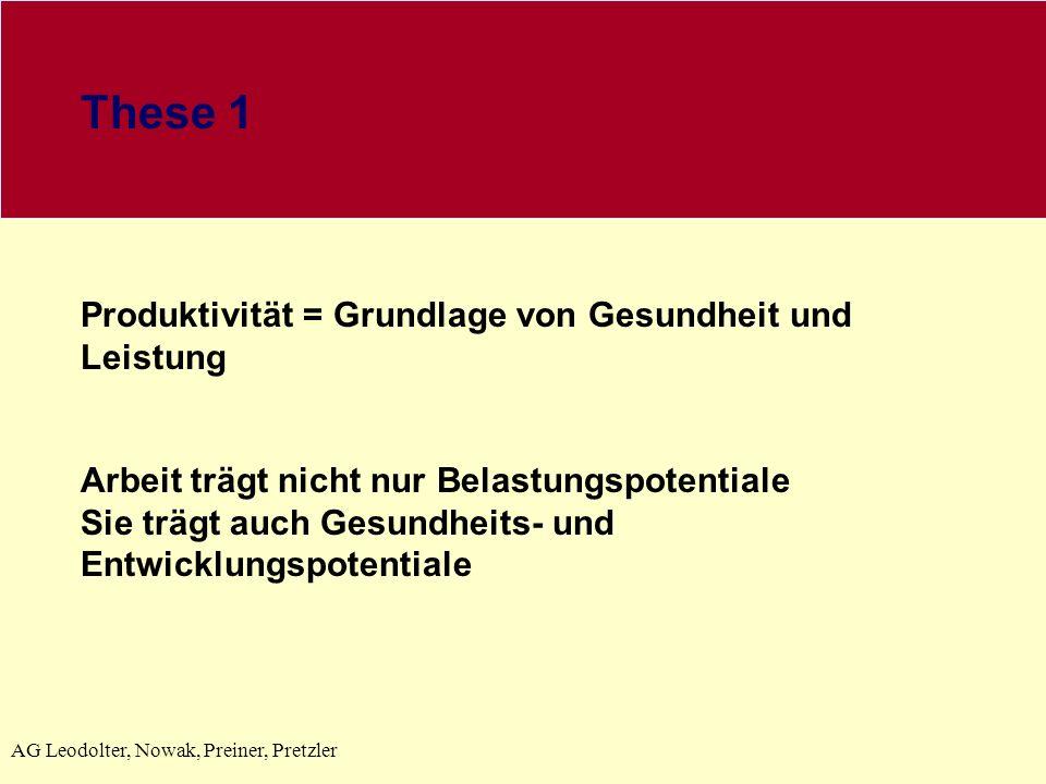 AG Leodolter, Nowak, Preiner, Pretzler These 1 Produktivität = Grundlage von Gesundheit und Leistung Arbeit trägt nicht nur Belastungspotentiale Sie t