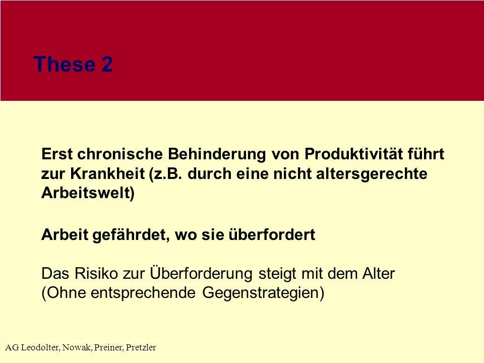 AG Leodolter, Nowak, Preiner, Pretzler These 2 Erst chronische Behinderung von Produktivität führt zur Krankheit (z.B.