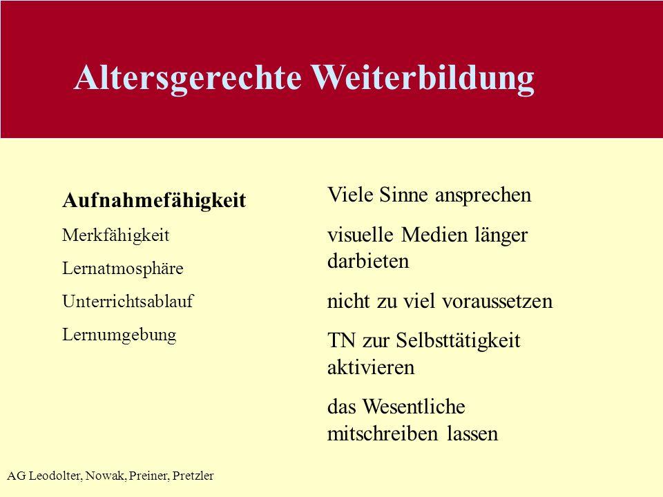 AG Leodolter, Nowak, Preiner, Pretzler Aufnahmefähigkeit Merkfähigkeit Lernatmosphäre Unterrichtsablauf Lernumgebung Viele Sinne ansprechen visuelle M