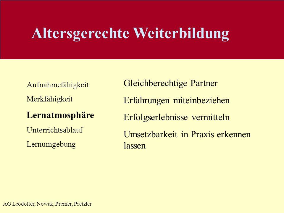 AG Leodolter, Nowak, Preiner, Pretzler Aufnahmefähigkeit Merkfähigkeit Lernatmosphäre Unterrichtsablauf Lernumgebung Gleichberechtige Partner Erfahrun