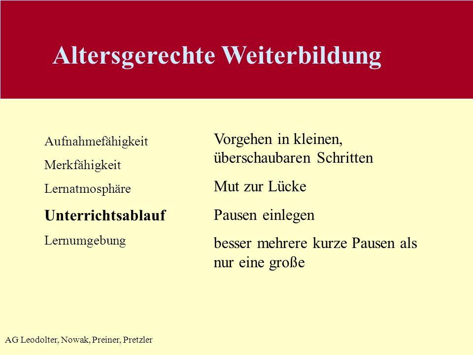 AG Leodolter, Nowak, Preiner, Pretzler Aufnahmefähigkeit Merkfähigkeit Lernatmosphäre Unterrichtsablauf Lernumgebung Vorgehen in kleinen, überschaubar
