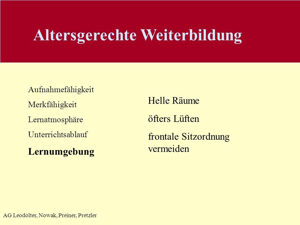 AG Leodolter, Nowak, Preiner, Pretzler Aufnahmefähigkeit Merkfähigkeit Lernatmosphäre Unterrichtsablauf Lernumgebung Helle Räume öfters Lüften frontal