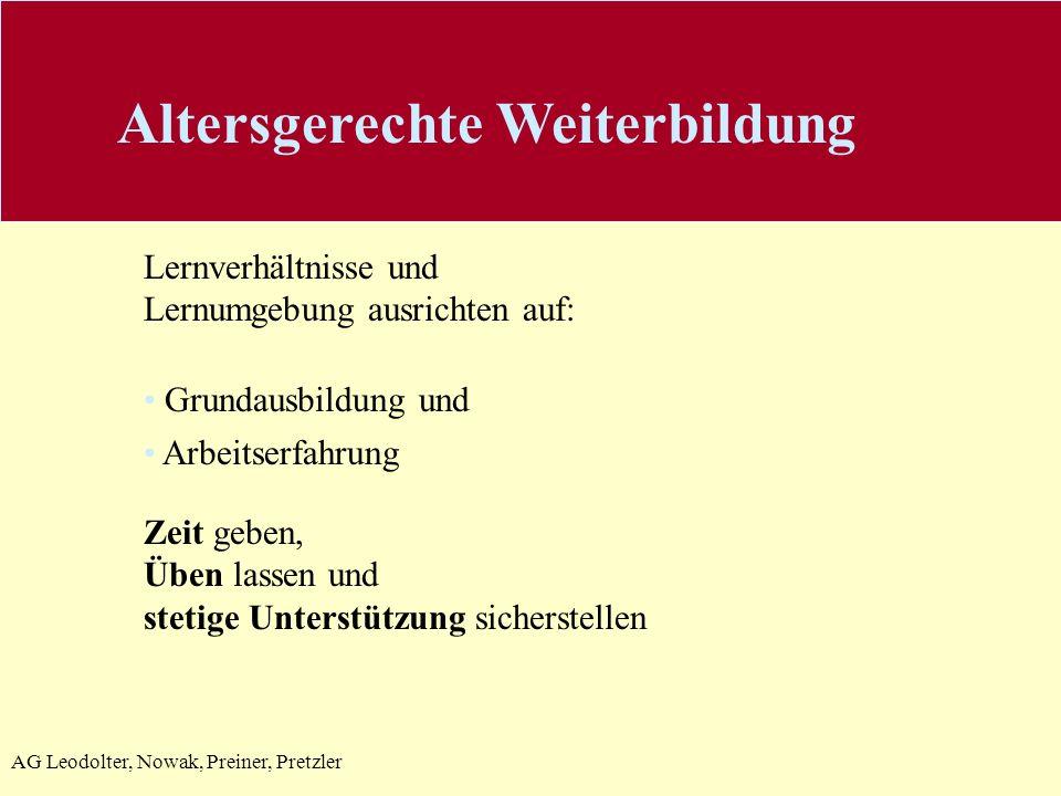AG Leodolter, Nowak, Preiner, Pretzler Lernverhältnisse und Lernumgebung ausrichten auf: Grundausbildung und Arbeitserfahrung Zeit geben, Üben lassen