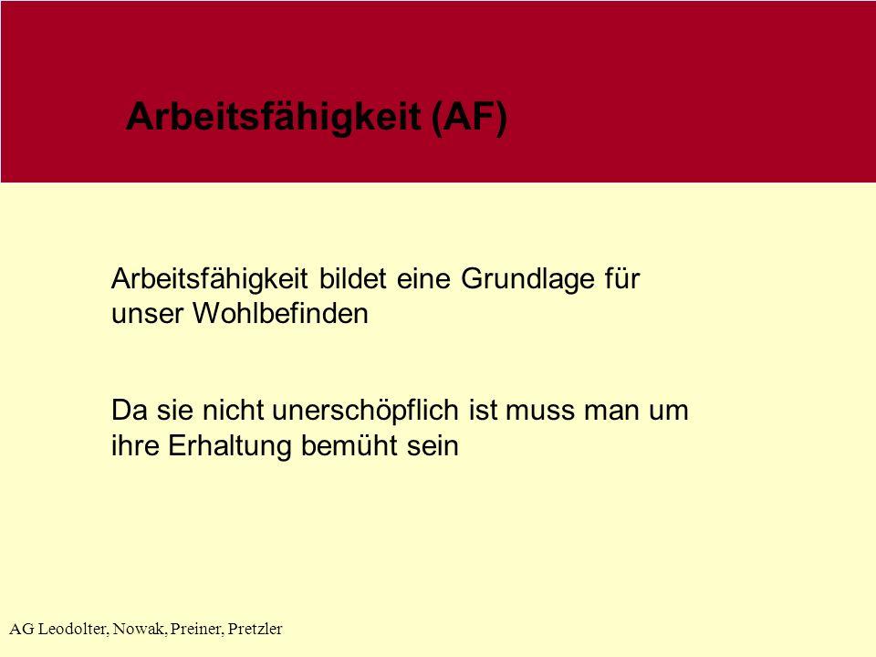 AG Leodolter, Nowak, Preiner, Pretzler Arbeitsfähigkeit (AF) Arbeitsfähigkeit bildet eine Grundlage für unser Wohlbefinden Da sie nicht unerschöpflich ist muss man um ihre Erhaltung bemüht sein