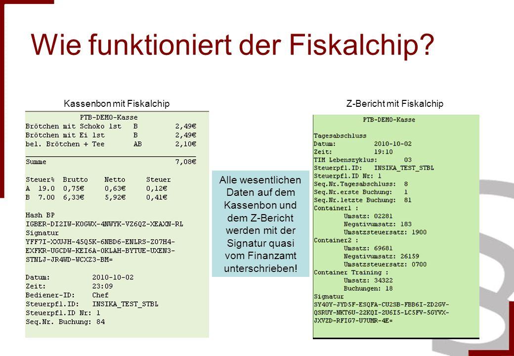 Wie funktioniert der Fiskalchip? Kassenbon mit FiskalchipZ-Bericht mit Fiskalchip Alle wesentlichen Daten auf dem Kassenbon und dem Z-Bericht werden m