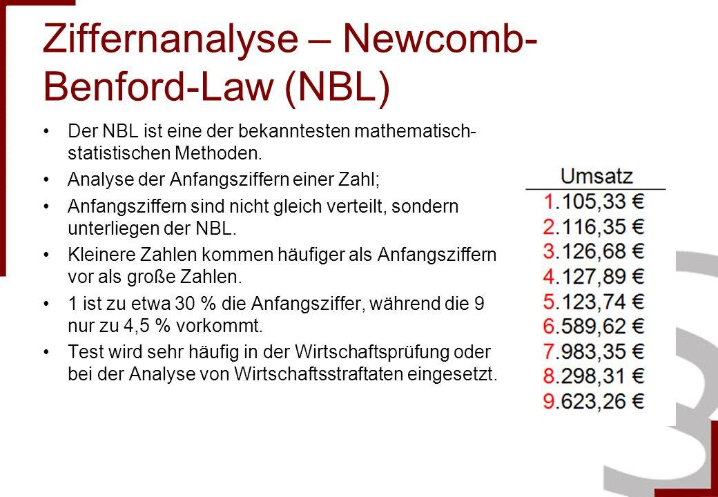 Ziffernanalyse – Newcomb- Benford-Law (NBL) Der NBL ist eine der bekanntesten mathematisch- statistischen Methoden. Analyse der Anfangsziffern einer Z