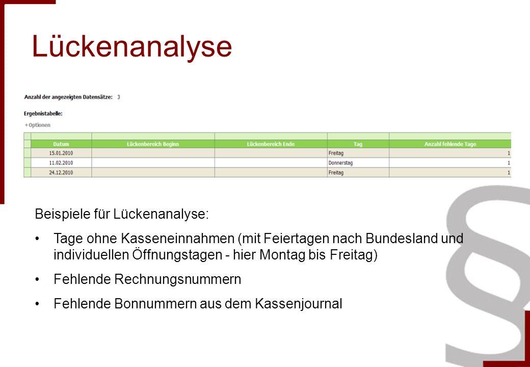 Lückenanalyse Beispiele für Lückenanalyse: Tage ohne Kasseneinnahmen (mit Feiertagen nach Bundesland und individuellen Öffnungstagen - hier Montag bis