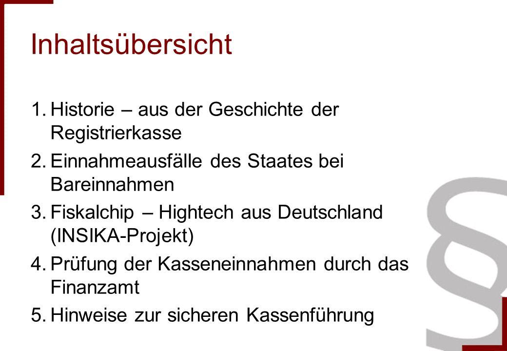 Inhaltsübersicht 1.Historie – aus der Geschichte der Registrierkasse 2.Einnahmeausfälle des Staates bei Bareinnahmen 3.Fiskalchip – Hightech aus Deuts