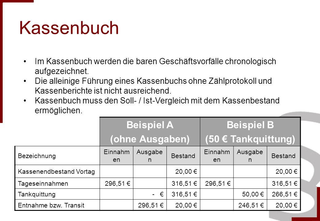 Kassenbuch Beispiel A (ohne Ausgaben) Beispiel B (50 Tankquittung) Bezeichnung Einnahm en Ausgabe n Bestand Einnahm en Ausgabe n Bestand Kassenendbest