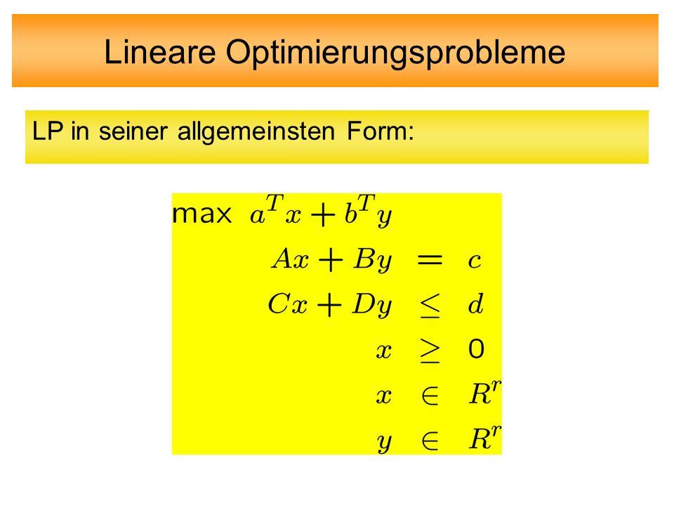 Lineare Optimierungsprobleme LP in seiner allgemeinsten Form: