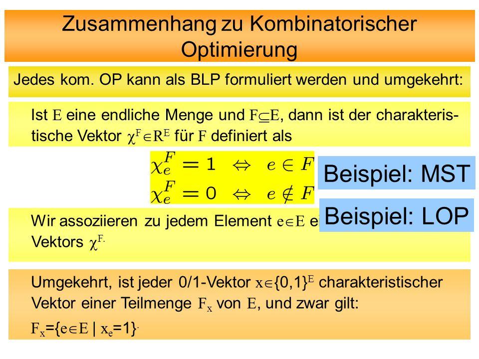 Zusammenhang zu Kombinatorischer Optimierung Jedes kom. OP kann als BLP formuliert werden und umgekehrt: Ist E eine endliche Menge und F E, dann ist d