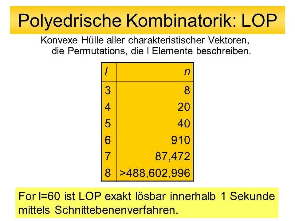 Polyedrische Kombinatorik: LOP Konvexe Hülle aller charakteristischer Vektoren, die Permutations, die l Elemente beschreiben. ln 345678345678 8 20 40