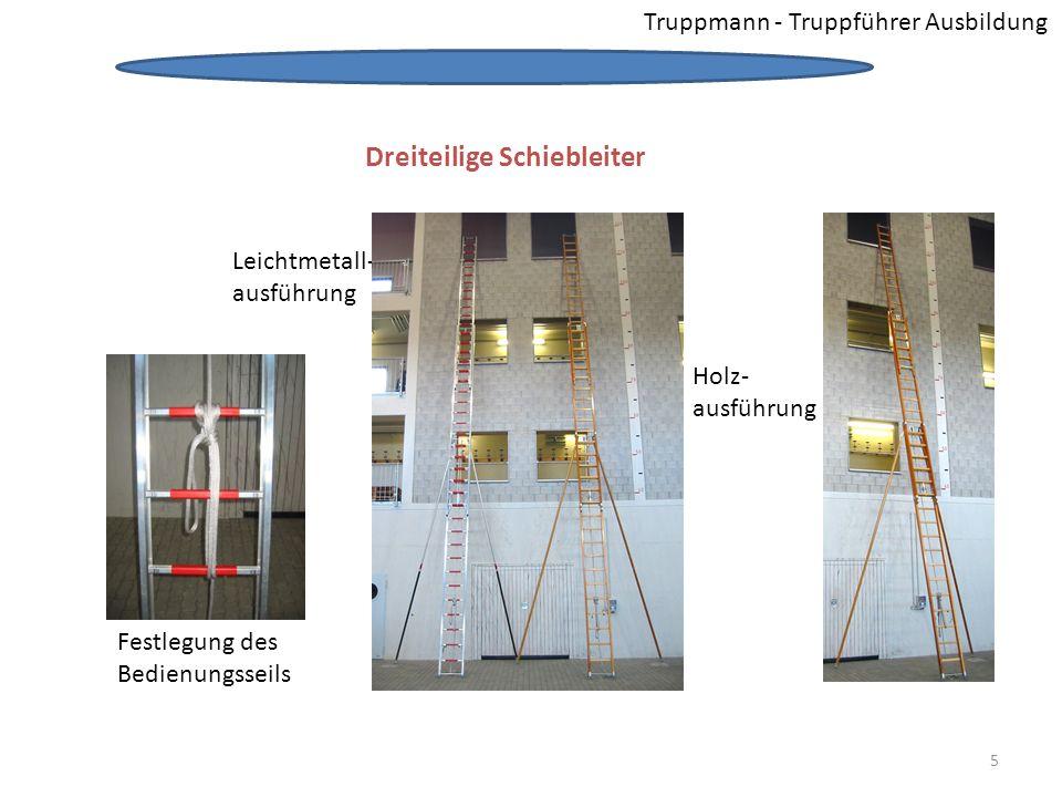 Truppmann - Truppführer Ausbildung Dreiteilige Schiebleiter Leichtmetall- ausführung Holz- ausführung Festlegung des Bedienungsseils Dreiteilige Schie