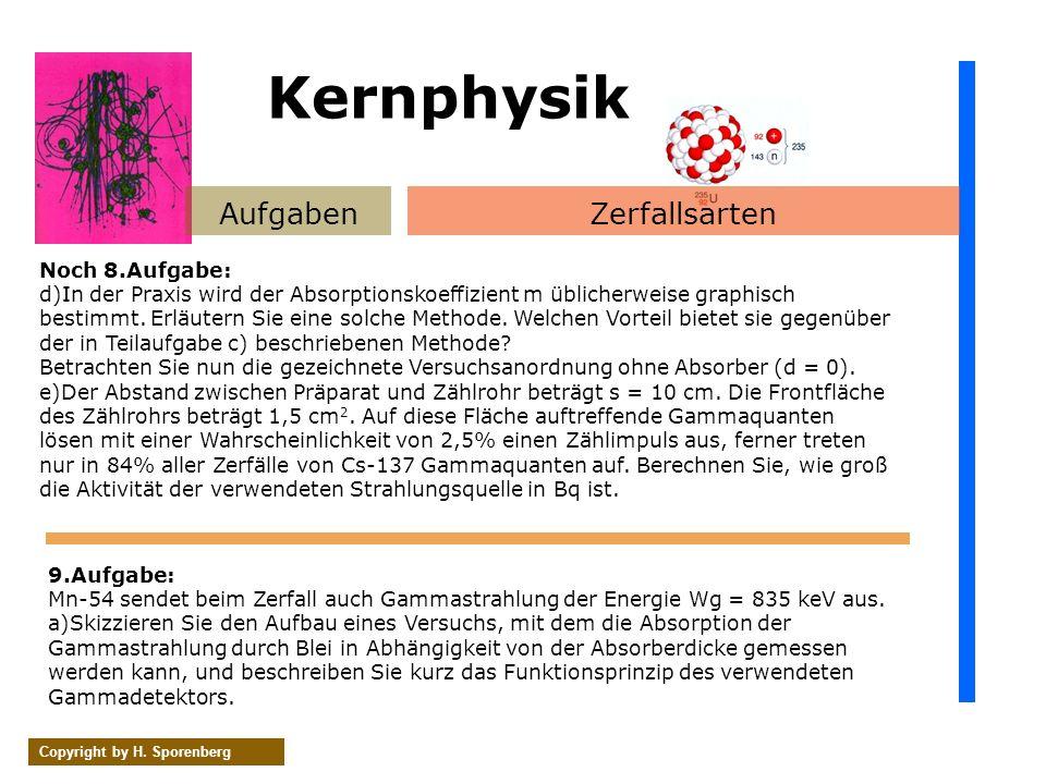 AufgabenZerfallsarten Copyright by H. Sporenberg Noch 8.Aufgabe: d)In der Praxis wird der Absorptionskoeffizient m üblicherweise graphisch bestimmt. E