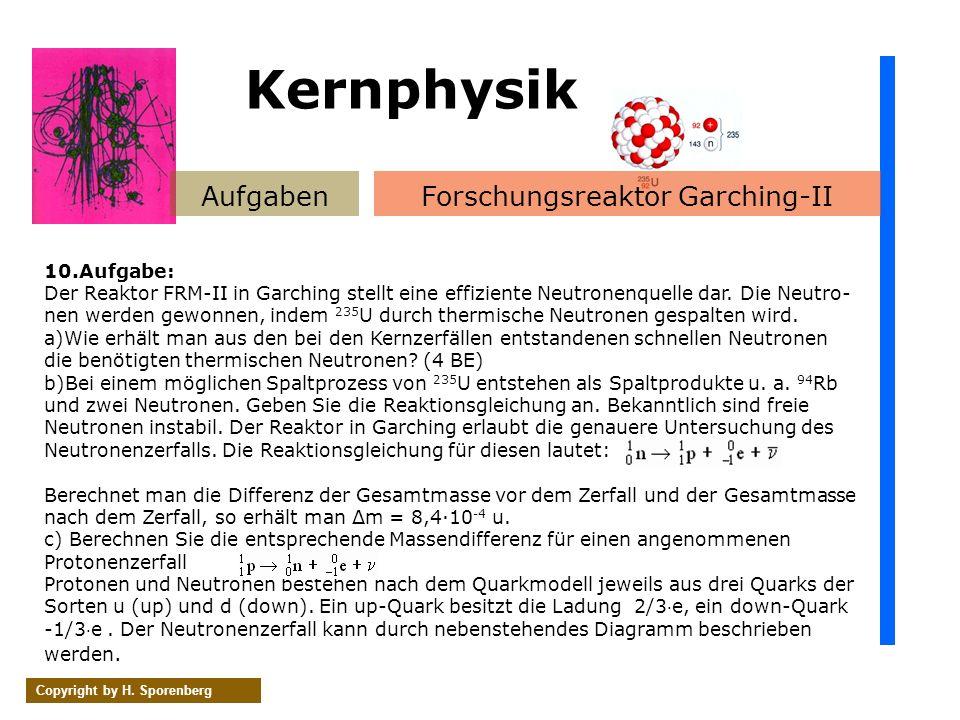 AufgabenForschungsreaktor Garching-II Copyright by H. Sporenberg 10.Aufgabe: Der Reaktor FRM-II in Garching stellt eine effiziente Neutronenquelle dar