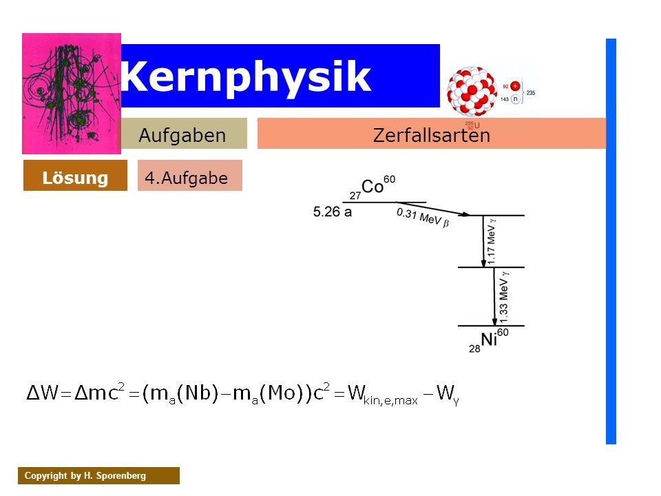 Kernphysik AufgabenZerfallsarten Lösung Copyright by H. Sporenberg 4.Aufgabe