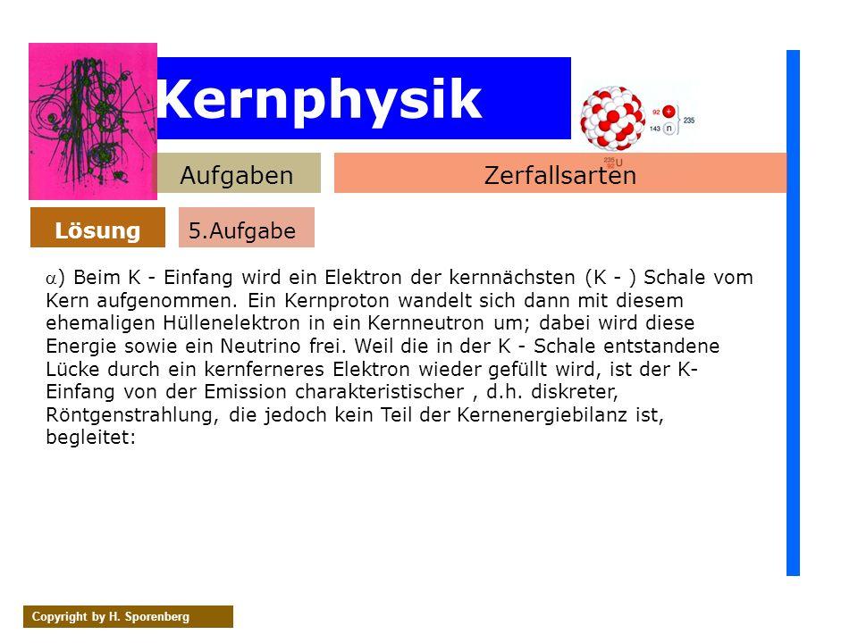 Kernphysik AufgabenZerfallsarten Lösung Copyright by H. Sporenberg ) Beim K - Einfang wird ein Elektron der kernnächsten (K - ) Schale vom Kern aufgen