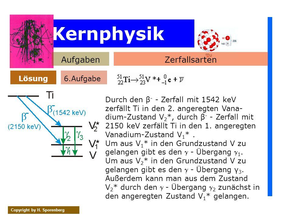 Kernphysik AufgabenZerfallsarten Lösung Copyright by H. Sporenberg Durch den β - - Zerfall mit 1542 keV zerfällt Ti in den 2. angeregten Vana- dium-Zu