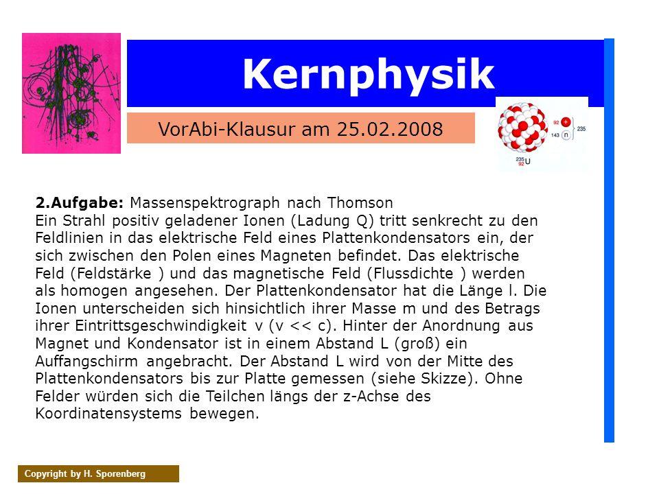 Kernphysik VorAbi-Klausur am 25.02.2008 Copyright by H. Sporenberg 2.Aufgabe: Massenspektrograph nach Thomson Ein Strahl positiv geladener Ionen (Ladu