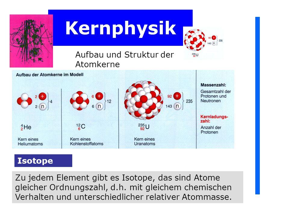 Kernphysik Aufbau und Struktur der Atomkerne Die atomare Masseneinheit u ist 1/12 der Masse des Atoms des Kohlenstoffisotops 12 C: u = 1/12 m 12 C = 1,660 565 10 -27 kg Die atomare Masseneinheit Die relative Atommasse A r Die relative Atommasse ist: relative Atommassse = A r = wahre Atommasse/atomare Masseneinheit