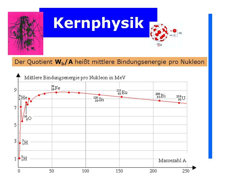 Kernphysik Der Quotient W b /A heißt mittlere Bindungsenergie pro Nukleon