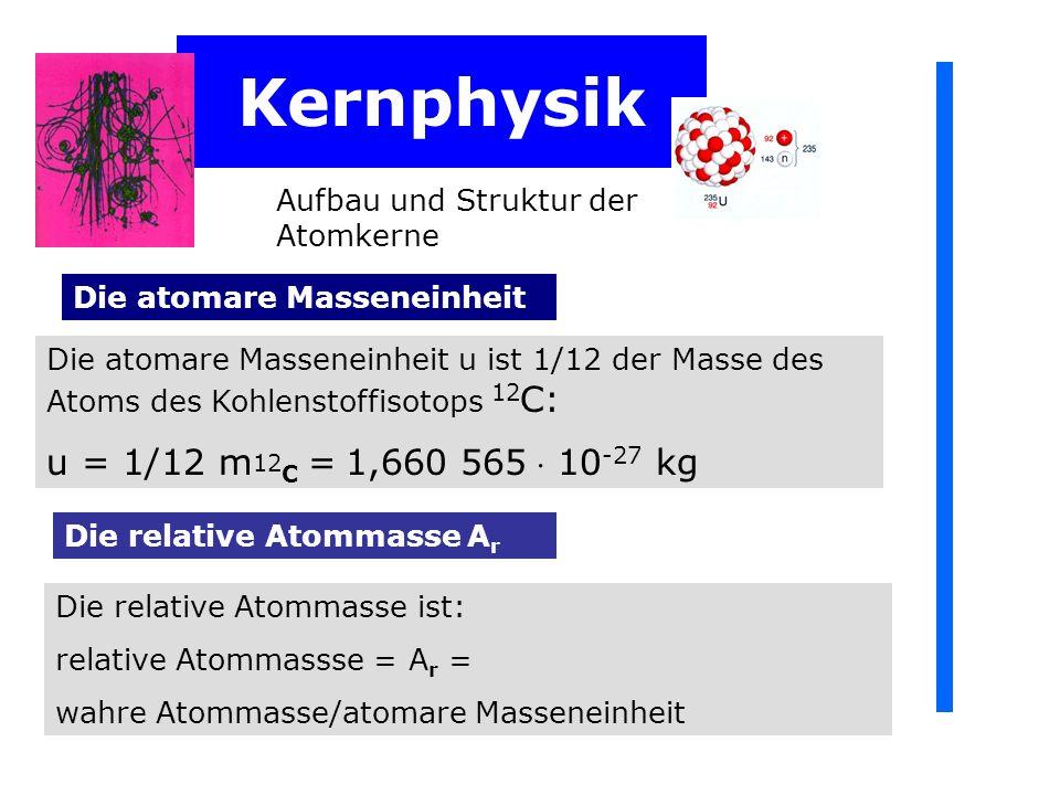 Kernphysik Aufbau und Struktur der Atomkerne Die atomare Masseneinheit u ist 1/12 der Masse des Atoms des Kohlenstoffisotops 12 C: u = 1/12 m 12 C = 1