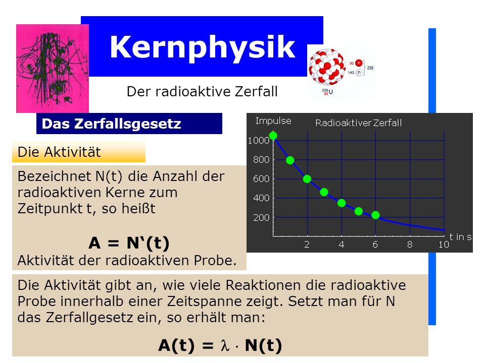 Kernphysik Der radioaktive Zerfall Das Zerfallsgesetz Die Aktivität Bezeichnet N(t) die Anzahl der radioaktiven Kerne zum Zeitpunkt t, so heißt A = N(t) Aktivität der radioaktiven Probe.