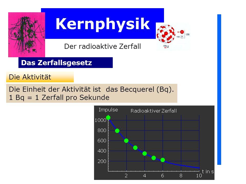 Kernphysik Der radioaktive Zerfall Das Zerfallsgesetz Die Aktivität Die Einheit der Aktivität ist das Becquerel (Bq). 1 Bq = 1 Zerfall pro Sekunde