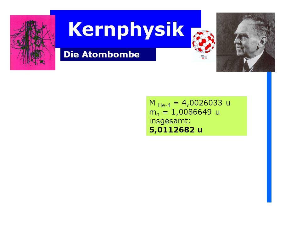 Kernphysik Die Atombombe M He-4 = 4,0026033 u m n = 1,0086649 u insgesamt: 5,0112682 u