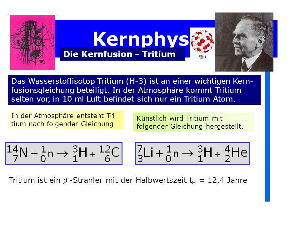 Kernphysik Die Kernfusion - Tritium In der Atmosphäre entsteht Tri- tium nach folgender Gleichung Künstlich wird Tritium mit folgender Gleichung hergestellt.