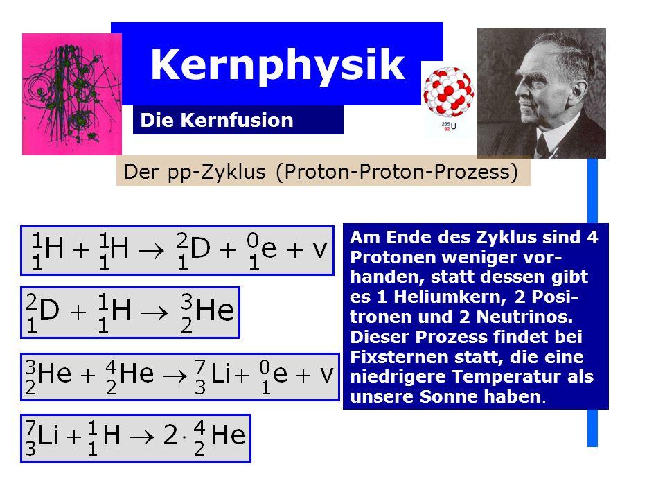 Kernphysik Die Kernfusion Am Ende des Zyklus sind 4 Protonen weniger vor- handen, statt dessen gibt es 1 Heliumkern, 2 Posi- tronen und 2 Neutrinos. D