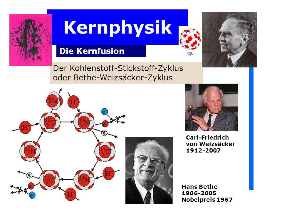 Kernphysik Die Kernfusion Der Kohlenstoff-Stickstoff-Zyklus oder Bethe-Weizsäcker-Zyklus Carl-Friedrich von Weizsäcker 1912-2007 Hans Bethe 1906-2005 Nobelpreis 1967