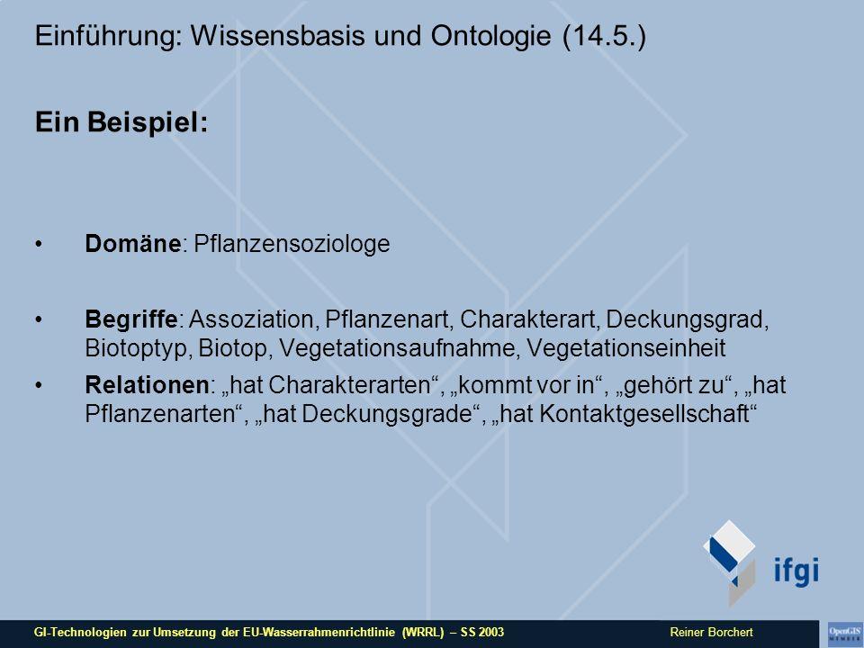 GI-Technologien zur Umsetzung der EU-Wasserrahmenrichtlinie (WRRL) – SS 2003 Reiner Borchert Einführung: Wissensbasis und Ontologie (14.5.) Ein Beispi