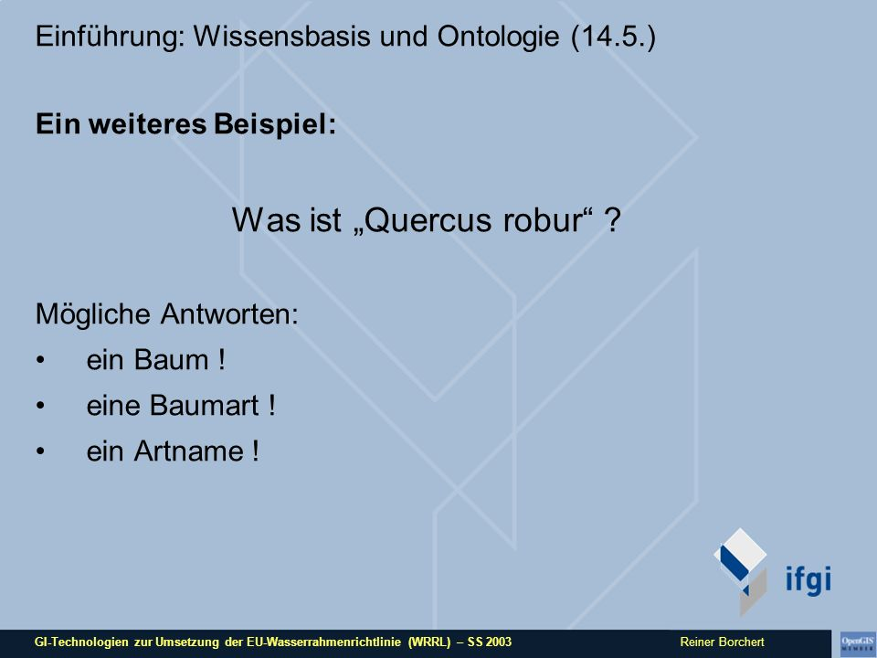 GI-Technologien zur Umsetzung der EU-Wasserrahmenrichtlinie (WRRL) – SS 2003 Reiner Borchert Einführung: Wissensbasis und Ontologie (14.5.) Ein weiteres Beispiel: Was ist Quercus robur .