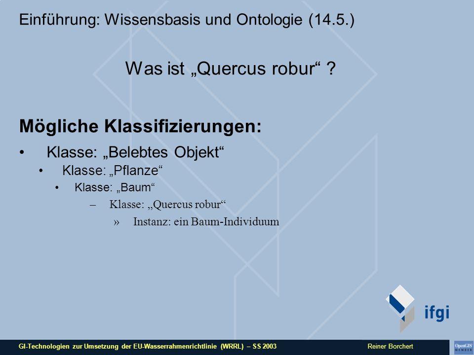 GI-Technologien zur Umsetzung der EU-Wasserrahmenrichtlinie (WRRL) – SS 2003 Reiner Borchert Einführung: Wissensbasis und Ontologie (14.5.) Was ist Qu